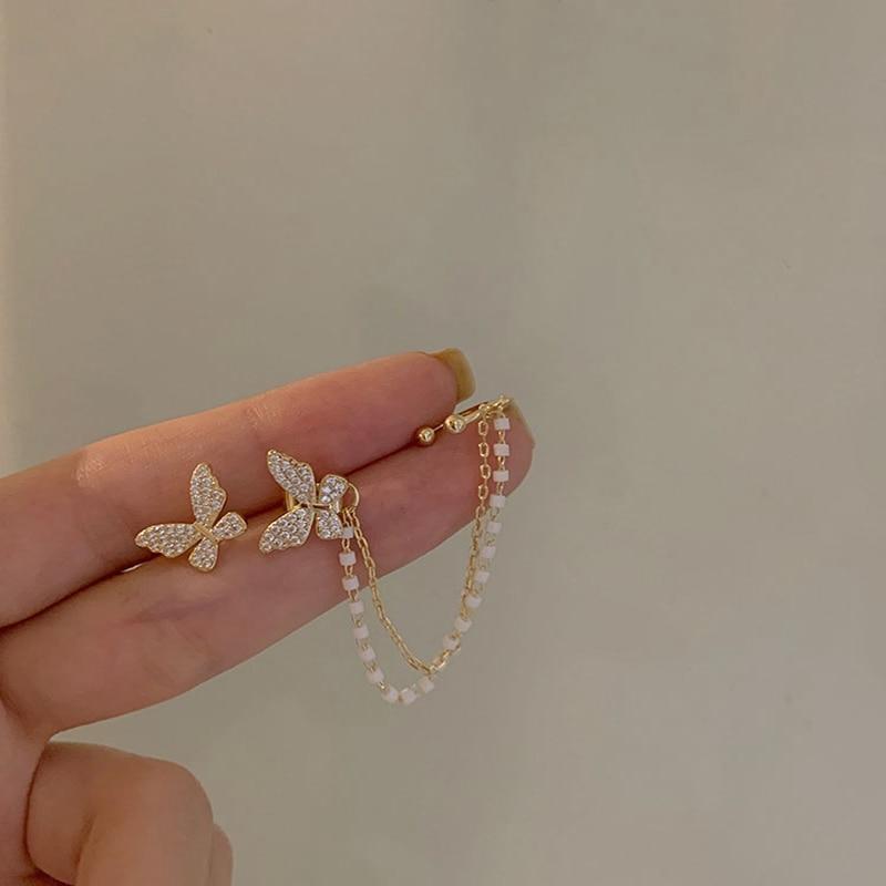 Women's Crystal Butterfly Stud Earrings