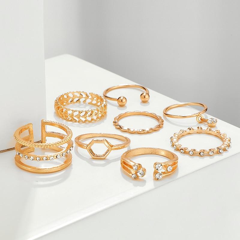 Geometric Patterned Rings Set
