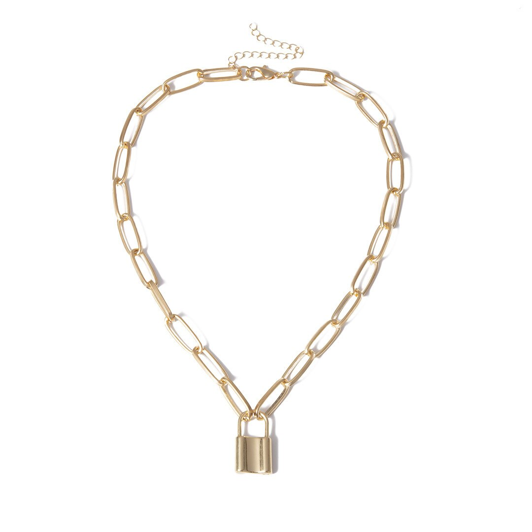 Women's Link Necklace with Lock Pendant