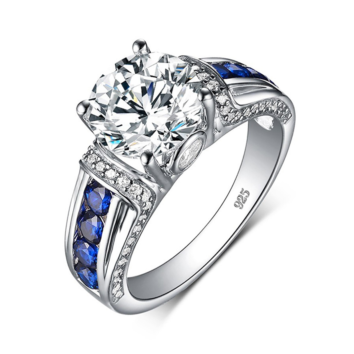 100% 925 Sterling Silver 2ct Round Moissanite Ring Diamond D Color VVS1