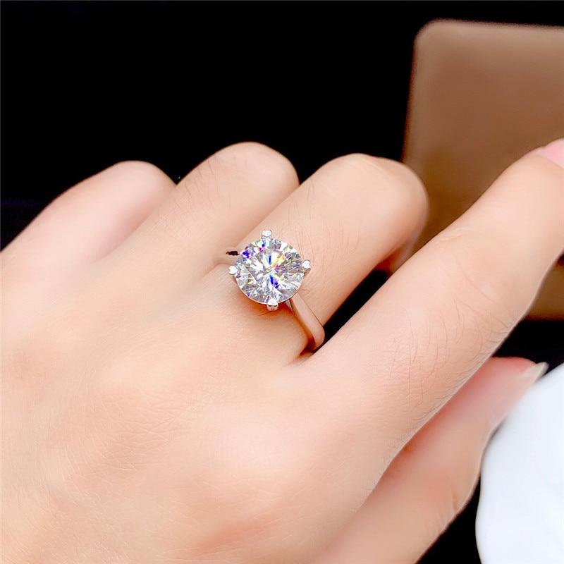 Moissanite Ring 0.5CT-3CT VVS Lab Diamond Wedding  Real 925 Sterling