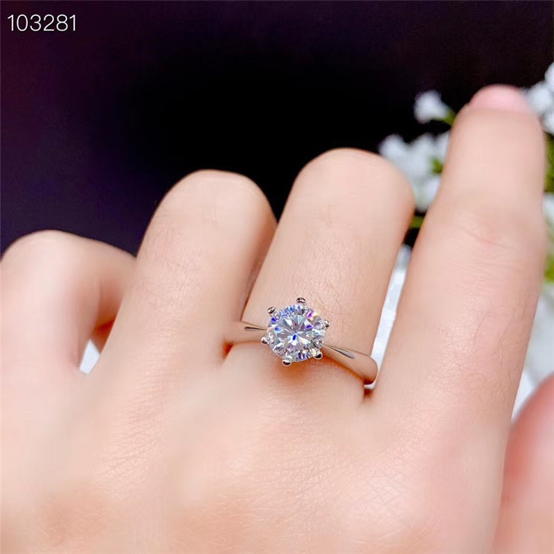 1CT Moissanite Ring VVS Lab Diamond Classic Style Real 925 Sterling