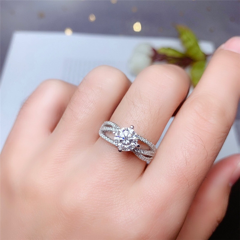 Moissanite Ring 1CT 6.5mm VVS1 lab diamond real 925 solid silver with certificate