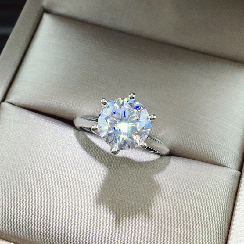 3CT Moissanite Ring VVS 9MM Lab Diamond With Certificate Real 925 Sterling