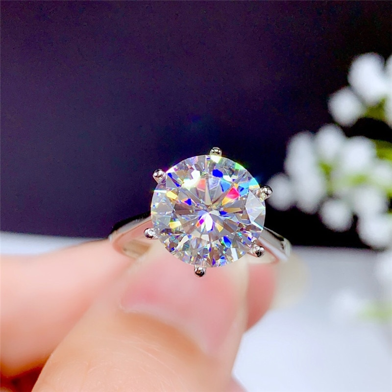 5CT Moissanite Ring VVS Round Cut Lab Diamond Classic Style Real 925 Sterling Silver