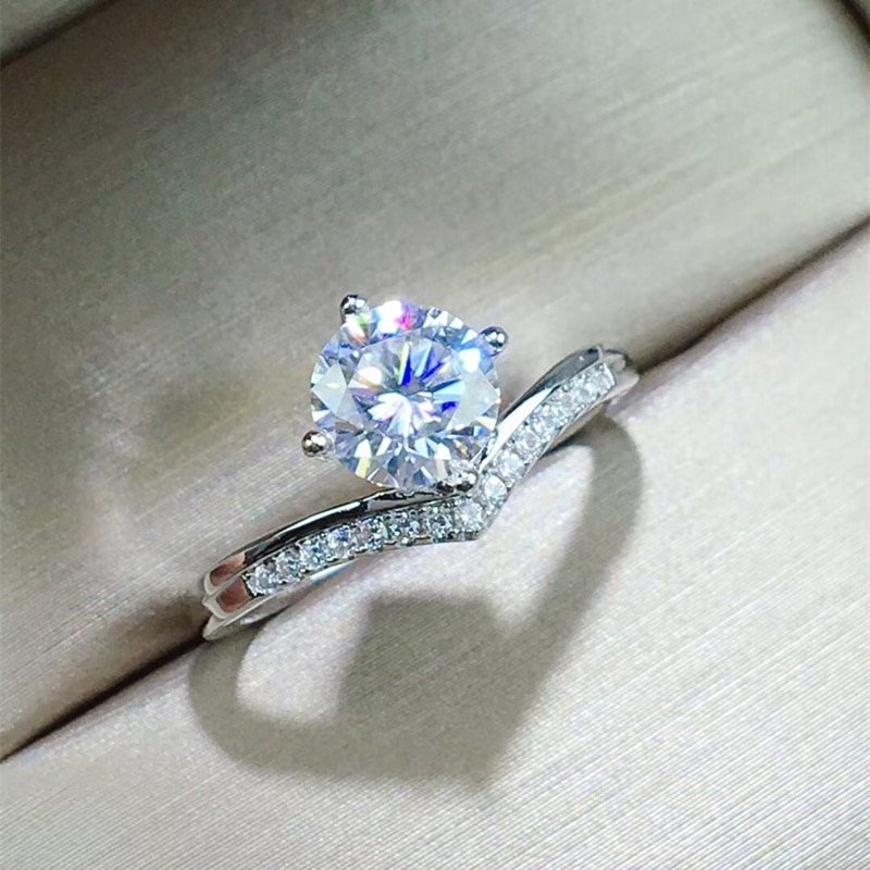 1CT Moissanite Ring 6.5MM Lab Diamond Fine Jewelry with Certificate Real 925 Sterling Silver