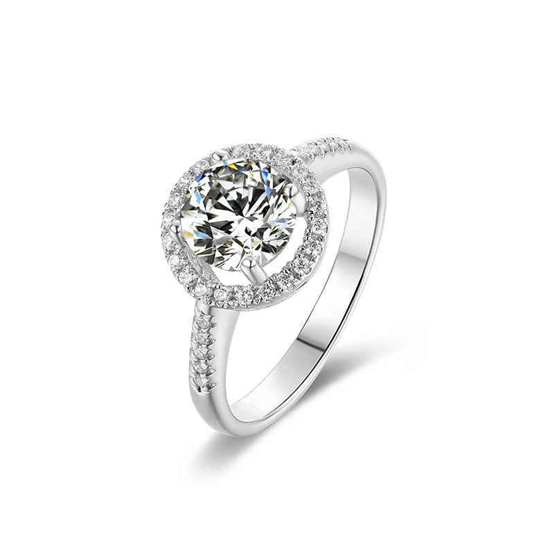 Silver Heart Engagement Ring
