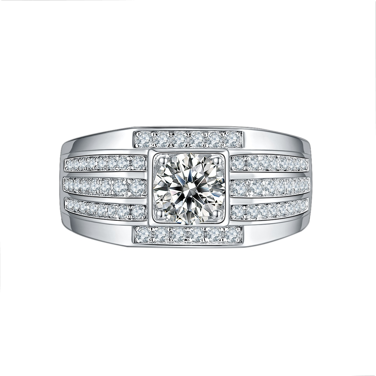 Sterling Silver Moissanite Ring for Wedding