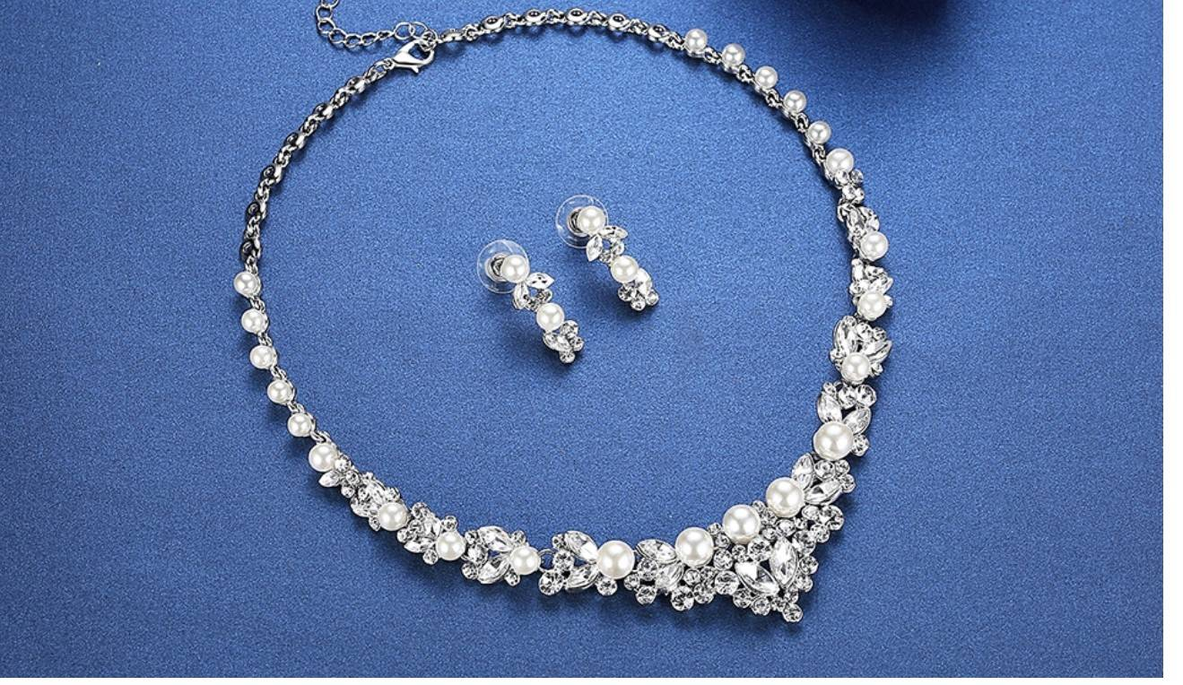 Women's Pearl and Crystal Necklace and Earrings Set
