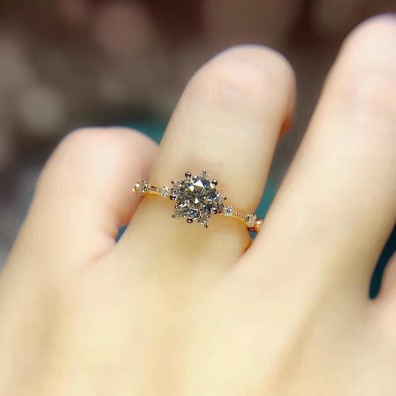 White Moissanite Diamond Ring for Women