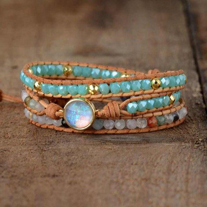 Women's Boho Natural Opal Leather Wrap Bracelet