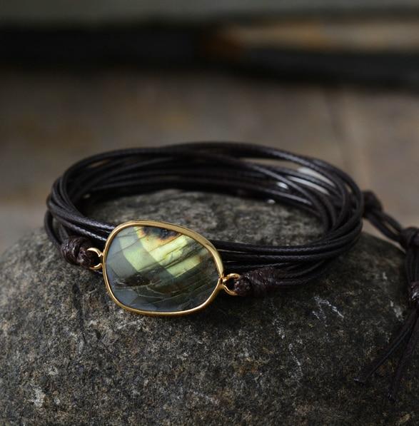 Women's Boho Style Labradorite Stone Wrap Bracelet