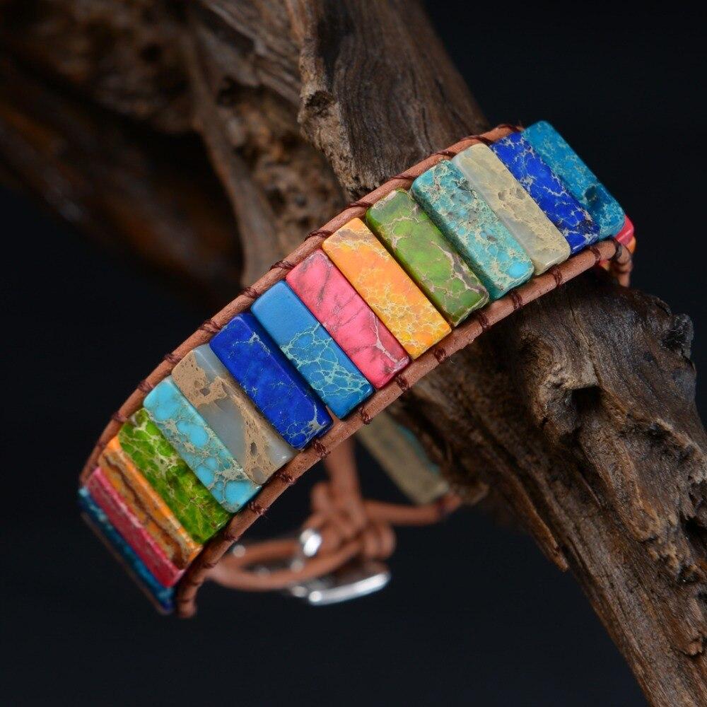 Multicolor Boho Natural Stone Wrap Bracelet