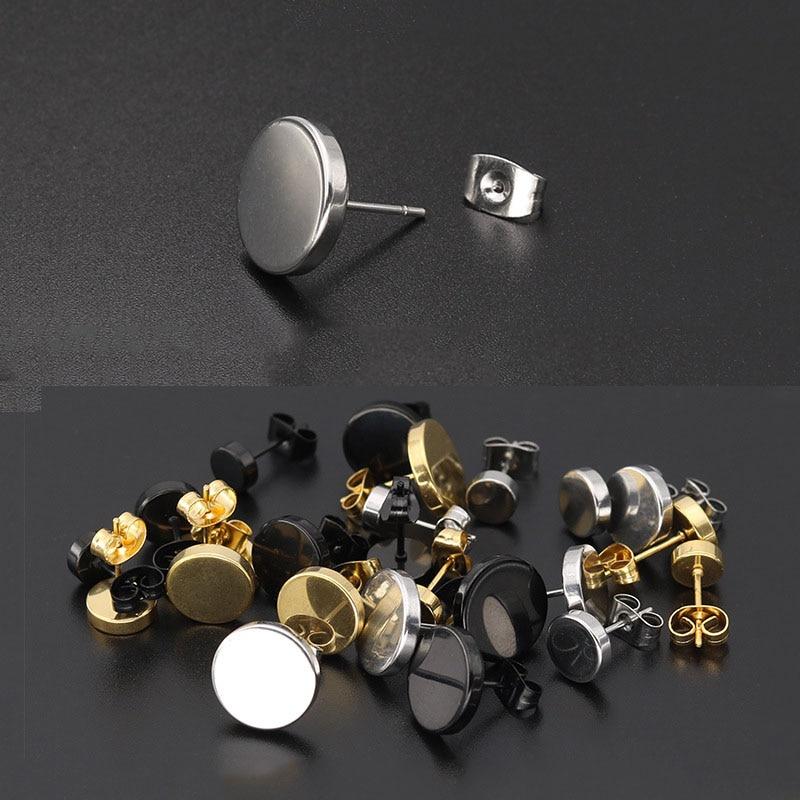 Men's Round Stainless Steel Earrings