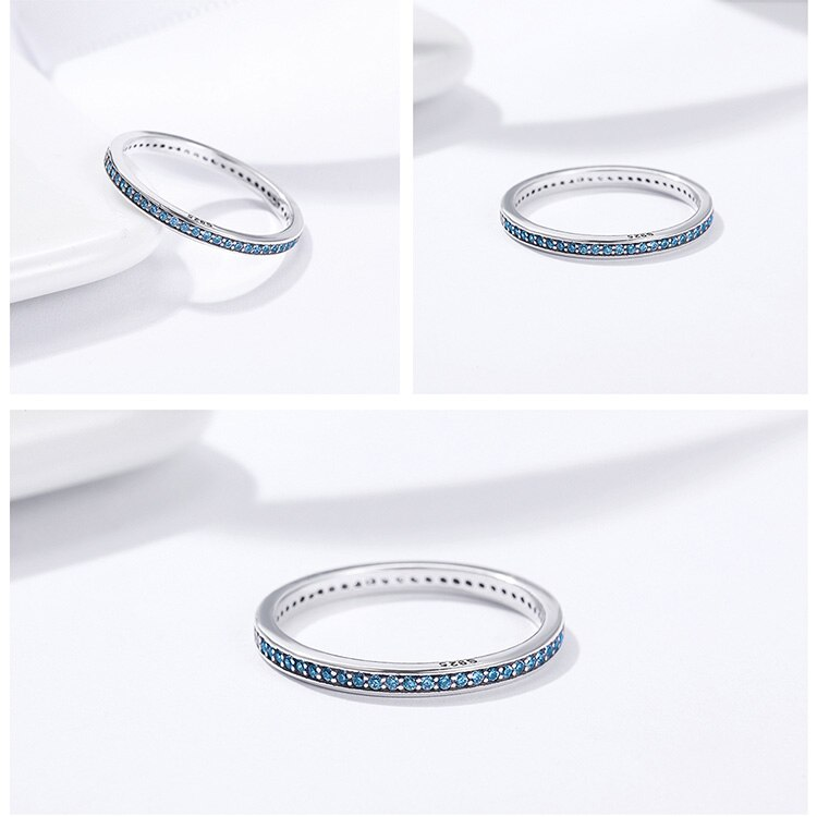 Women's Stylish Black 925 Sterling Silver Ring for Wedding