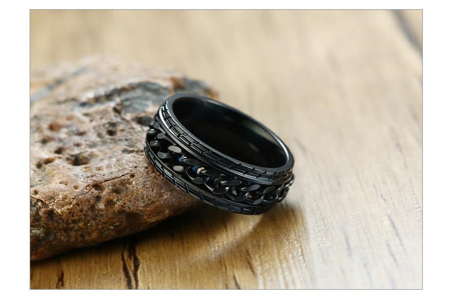 Rotatable Black Chain Rings for Men